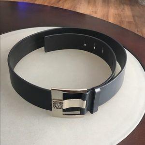 Anne Klein navy blue wide leather belt size LG
